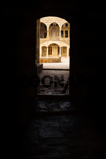 View trough entrance tunnel at Emir Bachir Chahabi Palace Beit ed-Dine in mount Lebanon Middle east, Lebanon