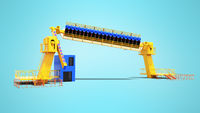 Modern more attraction for an amusement park for groups of people 3d render on blue background with shadow