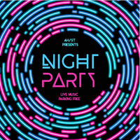Night party vector illustration. Rounded lines design style.