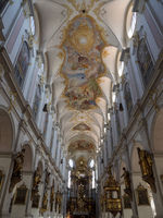 St. Peter Church - Nave with Ceiling Fresco, Pulpit, and High Altar - Munich