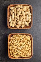 Peeled and unpeeled peanuts.