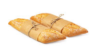 fresh baked bread on white background