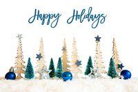 Christmas Tree, Snow, Blue Star, Ball, Happy Holidays, White Background
