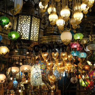 ISTANBUL, TURKEY - MAY 25 : Lights for sale in the Grand Bazaar in Istanbul Turkey on May 25, 2018