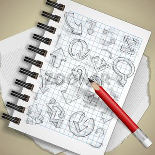 Set Of Hand Drawn Doodle Arrows.