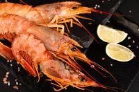 Raw shrimp langostino and lime