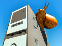 snail and slow computer 3d rendering