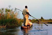 Flussfahrt im Mokoro im Okawango Delta