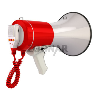 Megaphone or loudspeaker isolated on white.