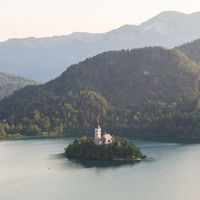 Lake Bled, island with a church and the alps in the background, Slovenia