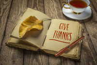 give thanks handwriting in antique leather-bound journal