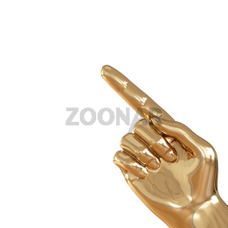 Golden hand with a raised index finger on a white background. 3d rendering