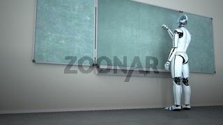 Humanoid Robot Chalk Board Writing Teacher