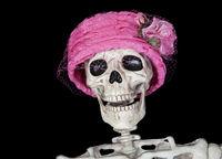 Skeleton in Vintage Pink Hat