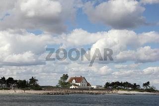 Lotsenhaus und Lotseninsel bei Schleimünde an der Ostsee