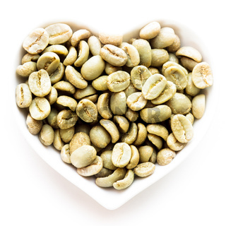 green coffee heart