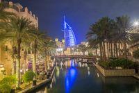 Night view of Burj al Arab hotel, Dubai, UAE.
