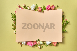 Paper congratulation card with flowers frame.