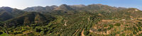 Aerial panorama of cretan landscape with Olive groves on mountain slopes. Crete, Greece.