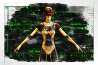 Artistic 3D illustration of a science-fiction female