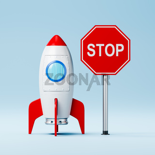 Cartoon Spaceship and Red Stop Road Sign on Blue Background