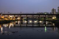 Jungnangcheon stream and subway bridge