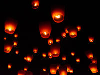 Paper lanterns at sky lantern festival, Pingxi, Taiwan