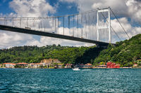 Fatih Sultan Mehmet Bridge on Bosphorus Strait