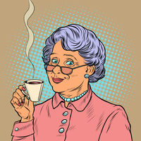 Elderly woman drinking coffee