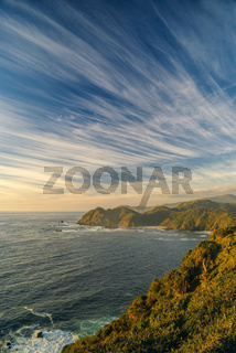 Breathtaking view of windswept sky over Parque Nacional Chiloe