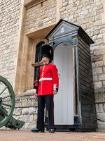 English guard soldier patrolling in London.
