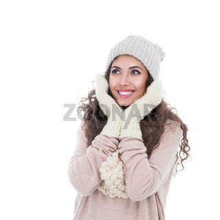 Winter fashion portrait of beautiful young woman isolated on white background