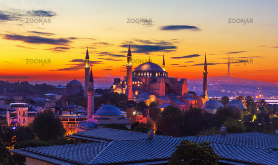 Hagia Sophia, former Mosque in Istanbul, Turkey, wonderful sunset colors