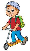 Boy on kick scooter theme image 1