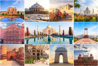 Famous places of India in the collage of photos