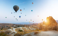 Hot air balloon flying over Cappadocia
