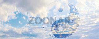 zeichen yin yang himmel wolken konzept