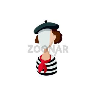 Mime icon, cartoon style