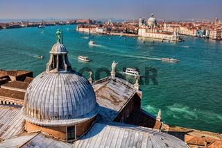 dome of san giorgio maggiore and dorsoduro district of venice in the background, italy