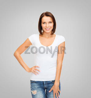 woman in blank white t-shirt