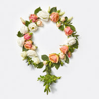 Female gender symbol from flowers.