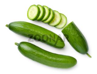 Mini Cucumbers Isolated On White Background