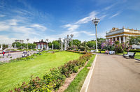 People resting on the square near fountain Friendship of People in VDNH park in Moscow. Russia