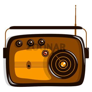 Radio model retro. Flat vector illustration. Isolated on white.