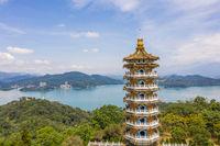 Aerial view of Ci En Pagoda at Sun Moon Lake