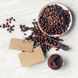 Business cards, coffee beans