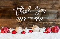 Christmas Ball Ornament, Snow, Calligraphy Thank You