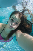 Girl Underwater Selfie