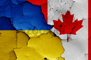 flags of Ukraine and Canada painted on cracked wall