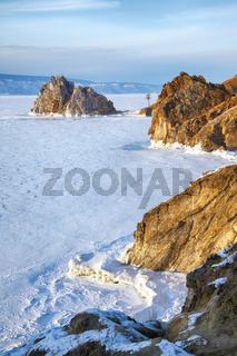 Rock Shamanka on Olkhon island in lake Baikal in winter